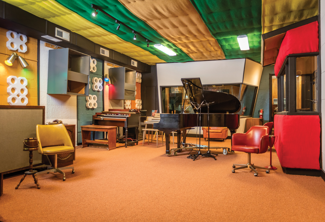 Above Burlap On The Ceiling Carpet Floor And A Whole Pel Of History In Between Newly Renovated Muscle Shoals Sound Studio Shares